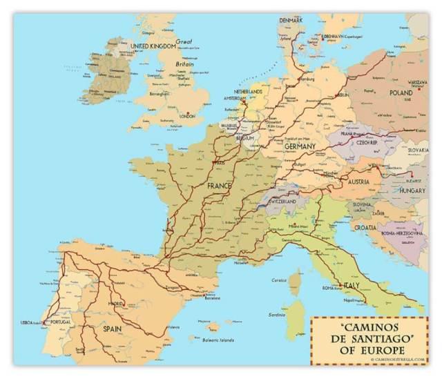 The_Camino_de_Santiago_routes_of-europe